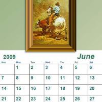 Printable June 2009 Oil Painting Calendar - Printable Monthly Calendars - Free Printable Calendars