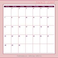 Printable June 2009 Planner Calendar - Printable Monthly Calendars - Free Printable Calendars