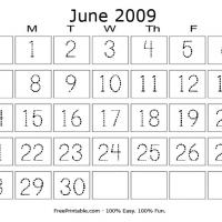 Printable June 2009 Writing Calendar - Printable Calendar Pages - Free Printable Calendars