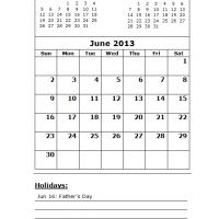 Printable June 2013 Calendar with Holidays - Printable Monthly Calendars - Free Printable Calendars