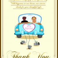 Just Married Thank You Card