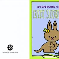 Kangaroo Blank Baby Shower Invitation