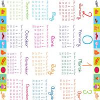 Printable Kids Colorful Blocks 2013 Calendar - Printable Yearly Calendar - Free Printable Calendars