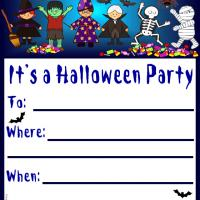 Printable Kids in Halloween Costumes - Printable Party Invitation Cards - Free Printable Invitations