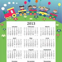 Printable Kids on a Train 2013 Calendar - Printable Yearly Calendar - Free Printable Calendars