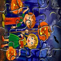 Kids with Jack-O-Lantern Puzzle Game