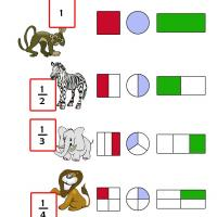 Printable Kindergarten Animal Fraction - Printable Kindergarten Worksheets and Lessons - Free Printable Worksheets