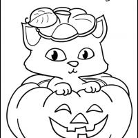 Printable Kitten in a Pumpkin - Printable Coloring Sheets - Free Printable Coloring Pages