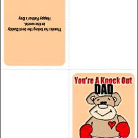 Printable Knockout Dad - Printable Fathers Day Cards - Free Printable Cards