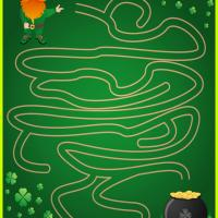 Printable Leprechaun and His Pot of Gold - Printable Mazes - Free Printable Games