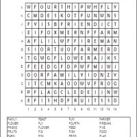 Letter F Word Search