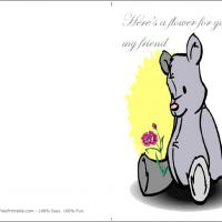 Printable Lilac Bear With Flower For Friend - Printable Greeting Cards - Free Printable Cards
