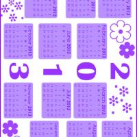 Printable Lilac Floral Stamped 2013 Calendar - Printable Yearly Calendar - Free Printable Calendars