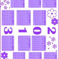 Lilac Floral Stamped 2013 Calendar