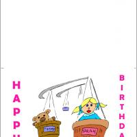 Printable Little Girl And Bear - Printable Birthday Cards - Free Printable Cards