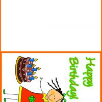 Printable Little Girl with Chocolate Cake - Printable Birthday Cards - Free Printable Cards