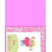 Little Girl's Pink Heart Mother's Day Card