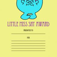 Printable Little Miss Shy Award - Printable Awards - Misc Printables