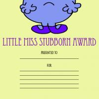 Printable Little Miss Stubborn Award - Printable Awards - Misc Printables