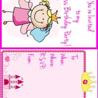 Printable Little Princess Birthday Party Invitation - Printable Birthday Invitation Cards - Free Printable Invitations