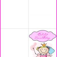Printable Little Princess in Pink Birthday Card - Printable Birthday Cards - Free Printable Cards