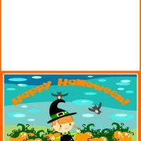 Printable Little Witch in the Pumpkin Garden - Printable Greeting Cards - Free Printable Cards