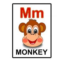 Printable M is for Monkey Flash Card - Printable Flash Cards - Free Printable Lessons