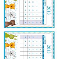 March - April Cartoon Animals 2013 Calendars