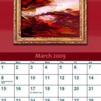 Printable March 2009 Oil Painting Calendar - Printable Monthly Calendars - Free Printable Calendars