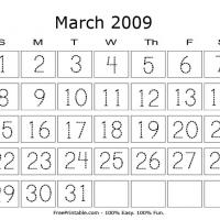 Printable March 2009 Writing Calendar - Printable Calendar Pages - Free Printable Calendars