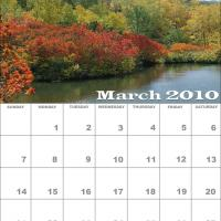 Printable March 2010 Nature Calendar - Printable Monthly Calendars - Free Printable Calendars