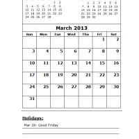 March 2013 Calendar with Holidays