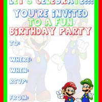 Mario and Luigi Birthday Party Invitation
