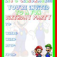 Mario and Luigi Birthday Party Invitation