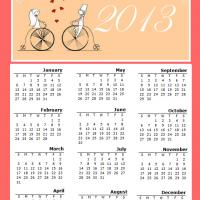 Printable Married Couple in Love on a Bike 2013 Calendar - Printable Yearly Calendar - Free Printable Calendars