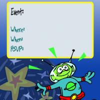 Martian with Blue Background Invitation