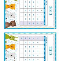 May - June Cartoon Animals 2013 Calendars