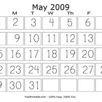 Printable May 2009 Writing Calendar - Printable Calendar Pages - Free Printable Calendars