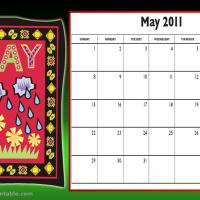 Printable May 2011 Colorful Designed Calendar - Printable Monthly Calendars - Free Printable Calendars