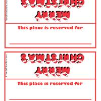 Printable Merry Christmas with Santa Hats - Printable Place Cards - Free Printable Cards