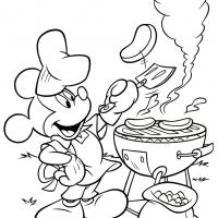 Printable Mickey's Grilling BBQ - Printable Disney - Free Printable Coloring Pages