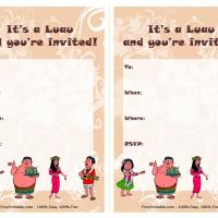 Printable Mocha Luau Party Invitation - Printable Party Invitation Cards - Free Printable Invitations