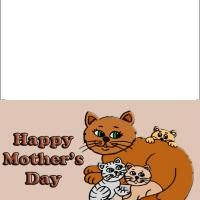 Printable Mommy Cat and Kittens - Printable Mothers Day Cards - Free Printable Cards