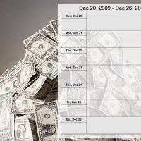 Printable Money Theme weekly Calendar Dec 20 to Dec 26 2009 - Printable Weekly Calendar - Free Printable Calendars