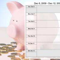Printable Money Theme Weekly Planner Dec 6 to Dec 12 2009 - Printable Weekly Calendar - Free Printable Calendars