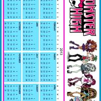 Printable Monster High 2013 Calendar - Printable Yearly Calendar - Free Printable Calendars