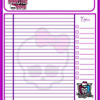 Monster High Daily Appointment Sheet
