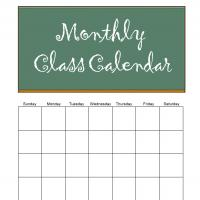 Monthly Class Calendar