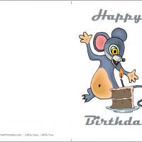 Printable Mouse Blowing Birthday Candle - Printable Birthday Cards - Free Printable Cards