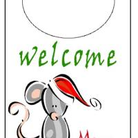 Printable Holiday Mouse Door Knob Hanger - Printable Fun - Free Printable Activities